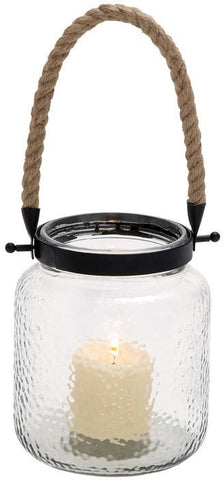 Benzara 23822 Vintage Canning Jar Glass And Rope Candle Lantern