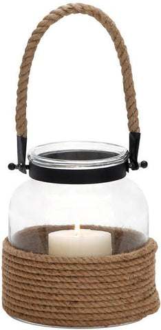 Benzara 23824 23824 Contemporary Designed Glass And Rope Metal Lantern With Rope Handle