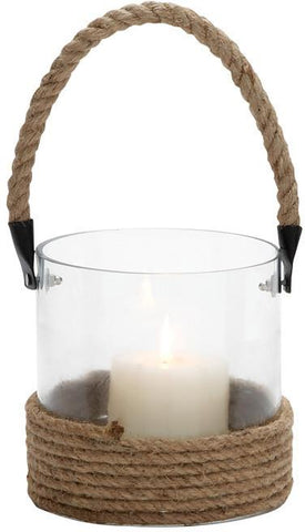 Benzara 23826 Cylindrical Shape Glass Lantern With Rope Handle