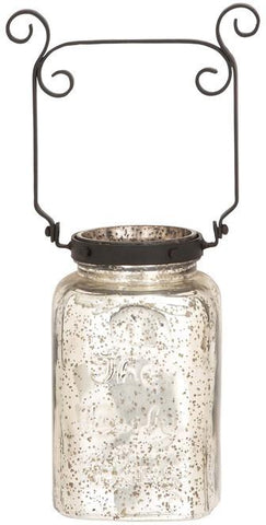 "Bayden Hill Mercury Glass Mtl Lantern 6""W, 18""H - Peazz.com"