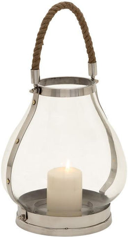 Benzara 23954 Impressive And Classic Stainless Steel Glass Lantern