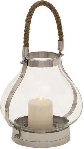Benzara 23955 Solace Giving Stainless Steel Glass Lantern