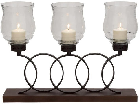Benzara 24148 Delightful Metal Wood Glass Candle Holder