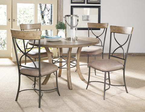 Hillsdale 4670DTBWC2 Charleston 5-Piece Round Wood Base Dining Set w/X-Back Chair