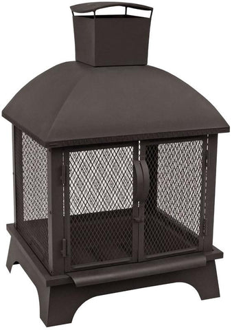 Landmann 25722 Redford Of, 1 Pc Base, Bigger Chimney, Ticks On Lid, Removable Firepan, Black Sandpaint, Matte Black Spark Guard - Peazz.com - 1