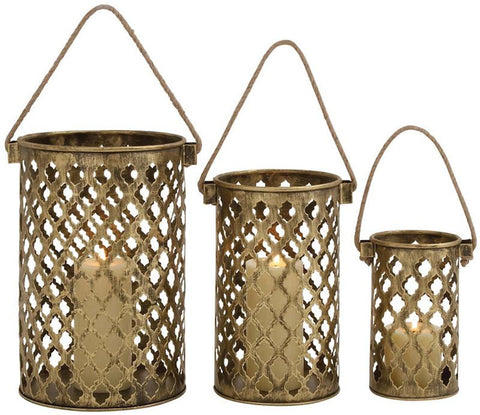 Benzara 26848 Set Of Three Antique Metal Lantern Candle Holders