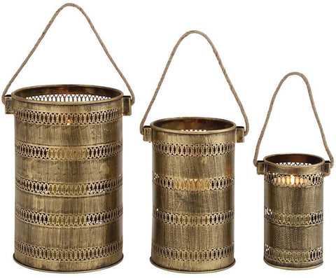 Benzara 26849 Antique Set Of Three Metal Lantern Candle Holders