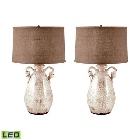 Lamp Works LAM-272/S2-LED Terra Cotta Collection Cream Finish Table Lamp