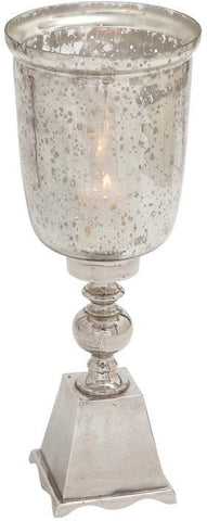Benzara 27472 Exquisite Hurricane Glass Candle Lantern With Metal Base