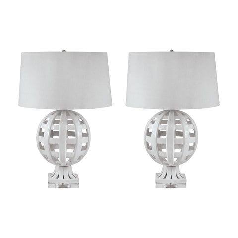 Lamp Works LAM-274/S2 Ceramic Collection White Finish Table Lamp