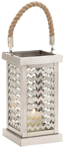 Benzara 27511 Beautiful Styled Stainless Steel Glass Lantern