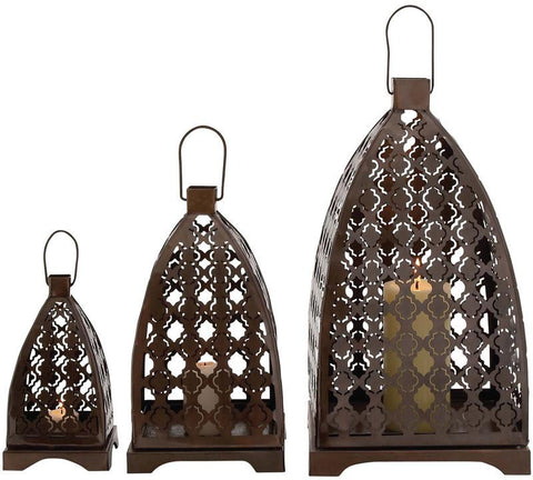 Benzara 27517 Floral Patterned Fantastic Metal Lantern