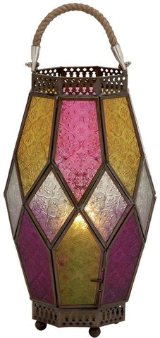 Benzara 27564 Brighten With Metal Glass Lantern