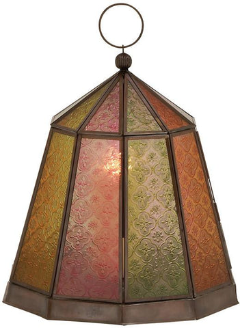 Benzara 27565 Cool And Colorful Metal Glass Lantern