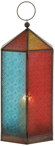 Benzara 27566 Brighten Up With Metal Glass Lantern
