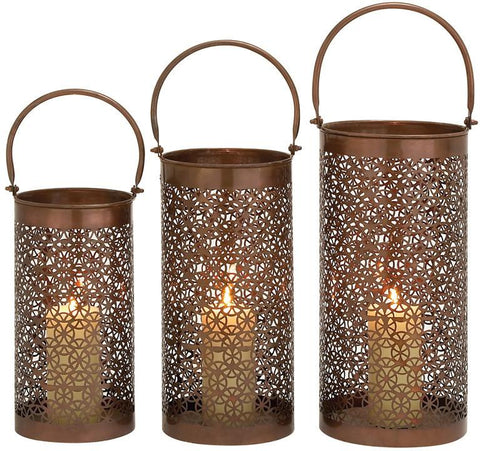 Benzara 27567 Aluminum Candle Lantern Set Of 3
