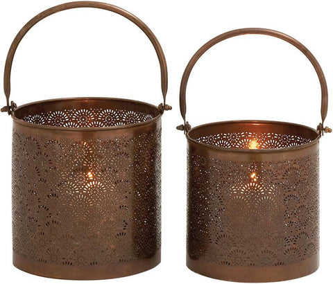 Benzara 27568 Stunning Metal Candle Lantern Set Of 2