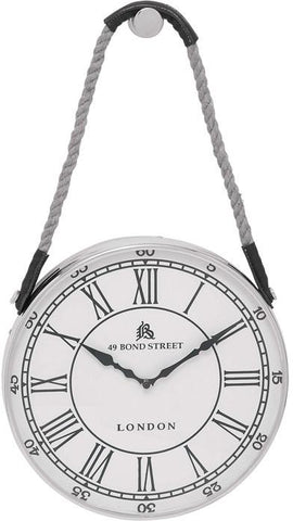 Benzara 27868 Metal Hanging Wall Clock With Attached Rope Fitted With Leather Straps (Small)