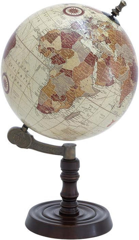 Benzara 27941 Wood Globe With Sturdy Base And Sea Routes