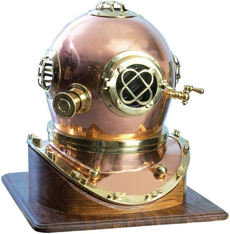 Benzara 28154 Brass Diving Helmet Compact Design For Smaller Spaces