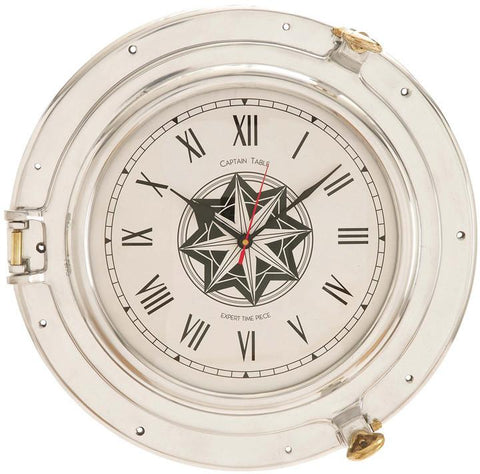 Benzara 28360 D Metal Port Hole Clock With A Sparkle