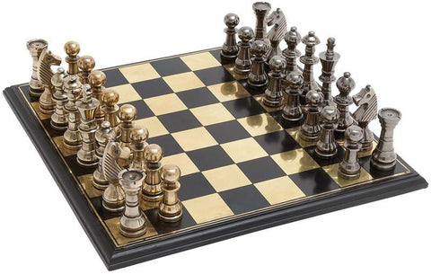 Benzara 28370 Sleek And Stylish Chess Set With Polished Aluminum Pieces And Stainless Steel Plated