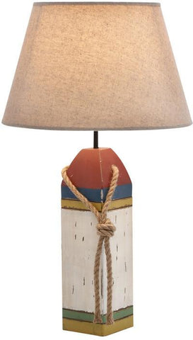 Benzara 28751 Cylindrical Shaped Shade Wooden Buoy Table Lamp