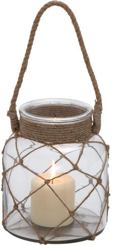 Benzara 28855 Jute Rope Netted Glass Jar Candle Lantern With A Sturdy Rope Handle