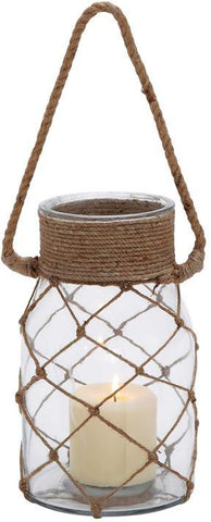 Benzara 28856 Smart Styled Opaque Glass Rope Candle Lantern