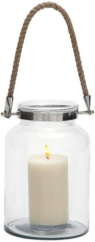 Benzara 28863 Eye Catching Glass Metal Lantern Rope Handle