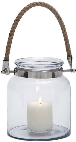 Benzara 28864 Stylish And Exquisite Glass Metal Lantern With A Sturdy Rope Handle