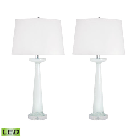 Lamp Works LAM-303W/S2-LED Luna Collection White Finish Table Lamp