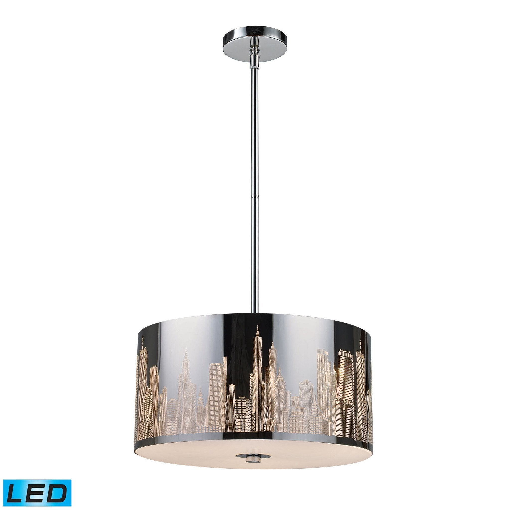 ELK Lighting 31038/3-LED Skyline Collection Polished Stainless Steel Finish