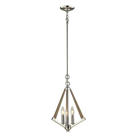 ELK Lighting 31472/3 Madera Collection Polished Nickel, Taupe Finish - PeazzLighting