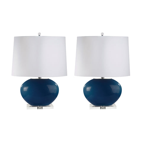 Lamp Works LAM-318/S2 Blown Glass Collection Royal Blue Finish Table Lamp