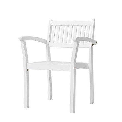 Vifah V1806 Bradley Outdoor Patio Wood Garden Stacking Armchair (Set of 2), Hand-Scraped Wood