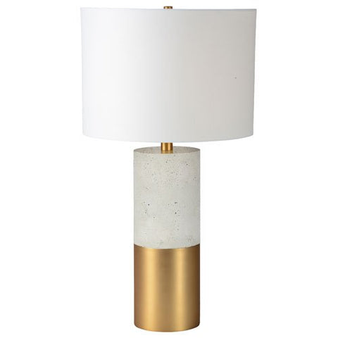 Renwil Inc LPT749 Liberty - One Light Table Lamp, Cement/Satin Brass Finish with Off White Cotton Shade