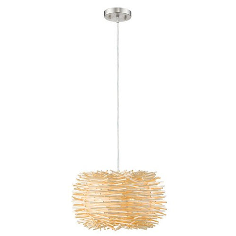 1-Light Pendant with Natural Willow Shade