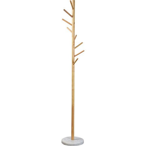 Renwil Kiel Coat Rack in Natural Wood and White Marble