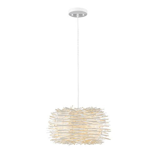 1 Light Pendant with White Willow Shade