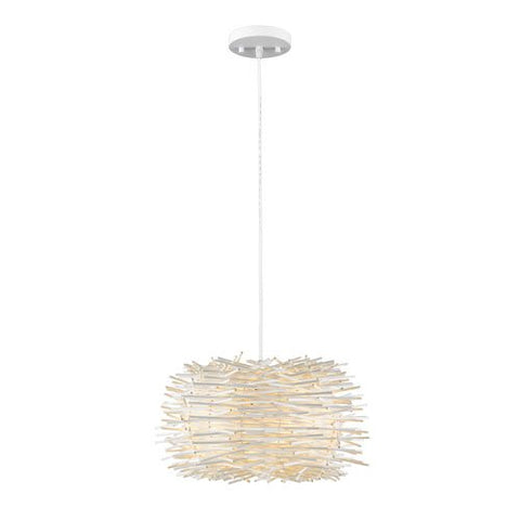 1-Light Pendant with White Willow Shade