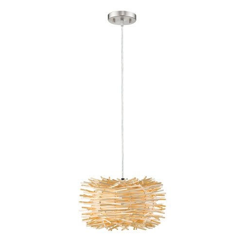 1 Light Contemporary Pendant with Natural Willow Shade