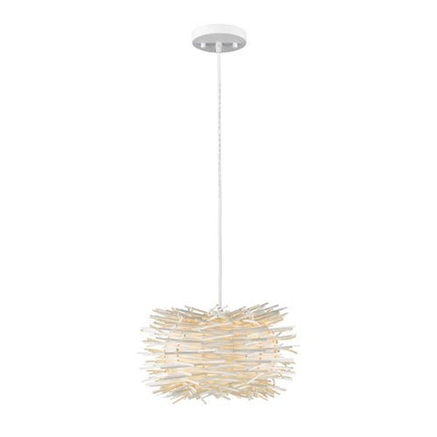 1-Light Contemporary Pendant with White Willow Shade