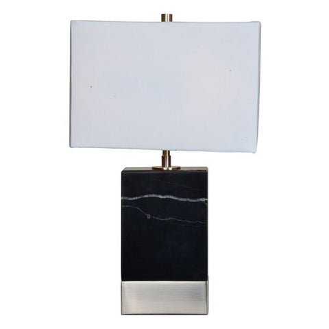 Renwil Inc LPT729 Heme - One Light Table Lamp, Black/Satin Nickel Finish with Off White Fabric Shade