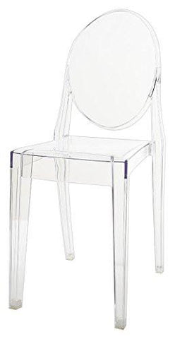 Mochi Furniture Transparent Polycarbonate Ghost Dining Armless Chair   Clear  (Set Of 4)