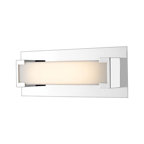 1 Light Steel Wall Sconce with Frosted Acrylic Shade