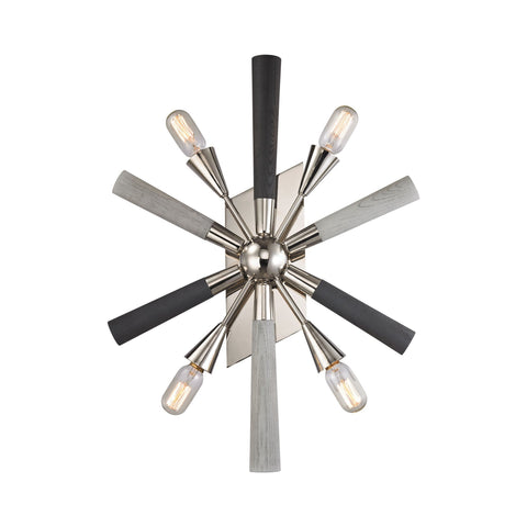 ELK Lighting 32230/4 Solara Collection Polished Nickel,Grey Washed Woodtone Finish - PeazzLighting