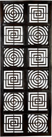 Benzara 32698 Squares And Circles Hand Carved Wood Walldecor Sculpture