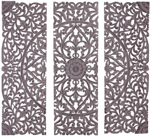 Benzara 34123 The Must Have Set Of 3 Wood Carved Wall Panel