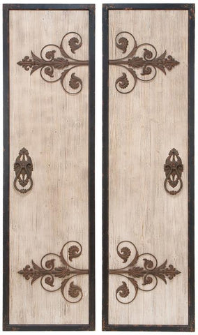 Benzara 34869 Wooden And Metal Wall Plaque With Assorted Classic Style